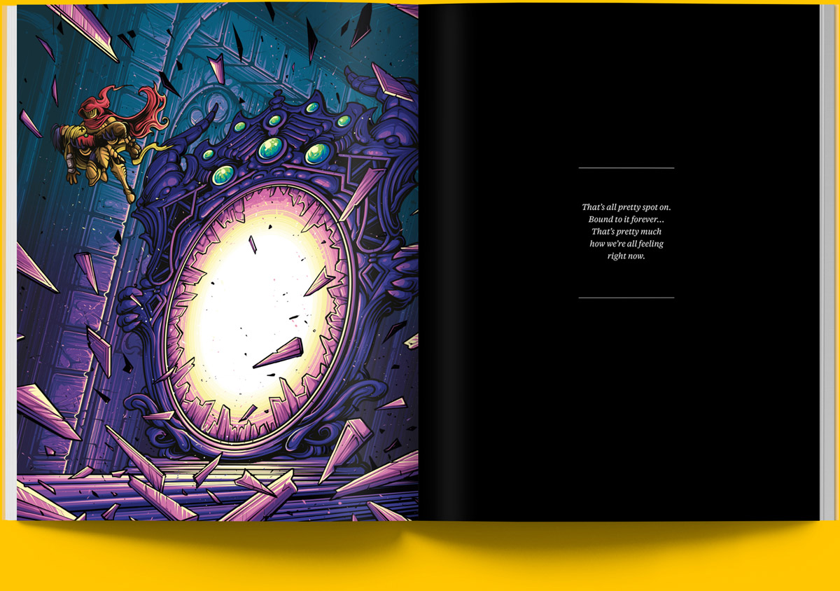 Magazine spread of an illustrated Specter of Torment Scene by Dan Mumford