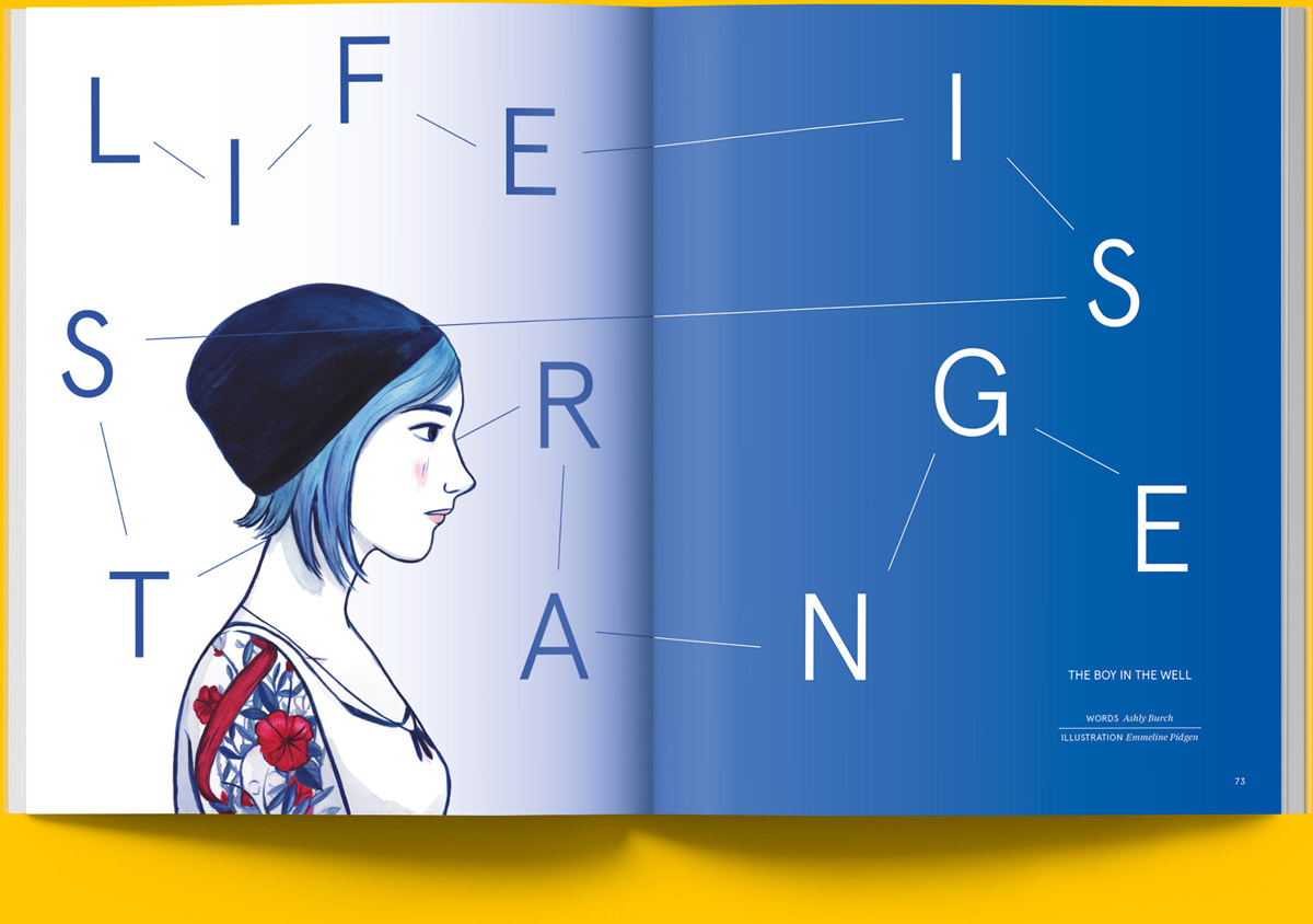 Magazine spread opening of an article on the voice acting behind the character of Chloe in Life is Strange
