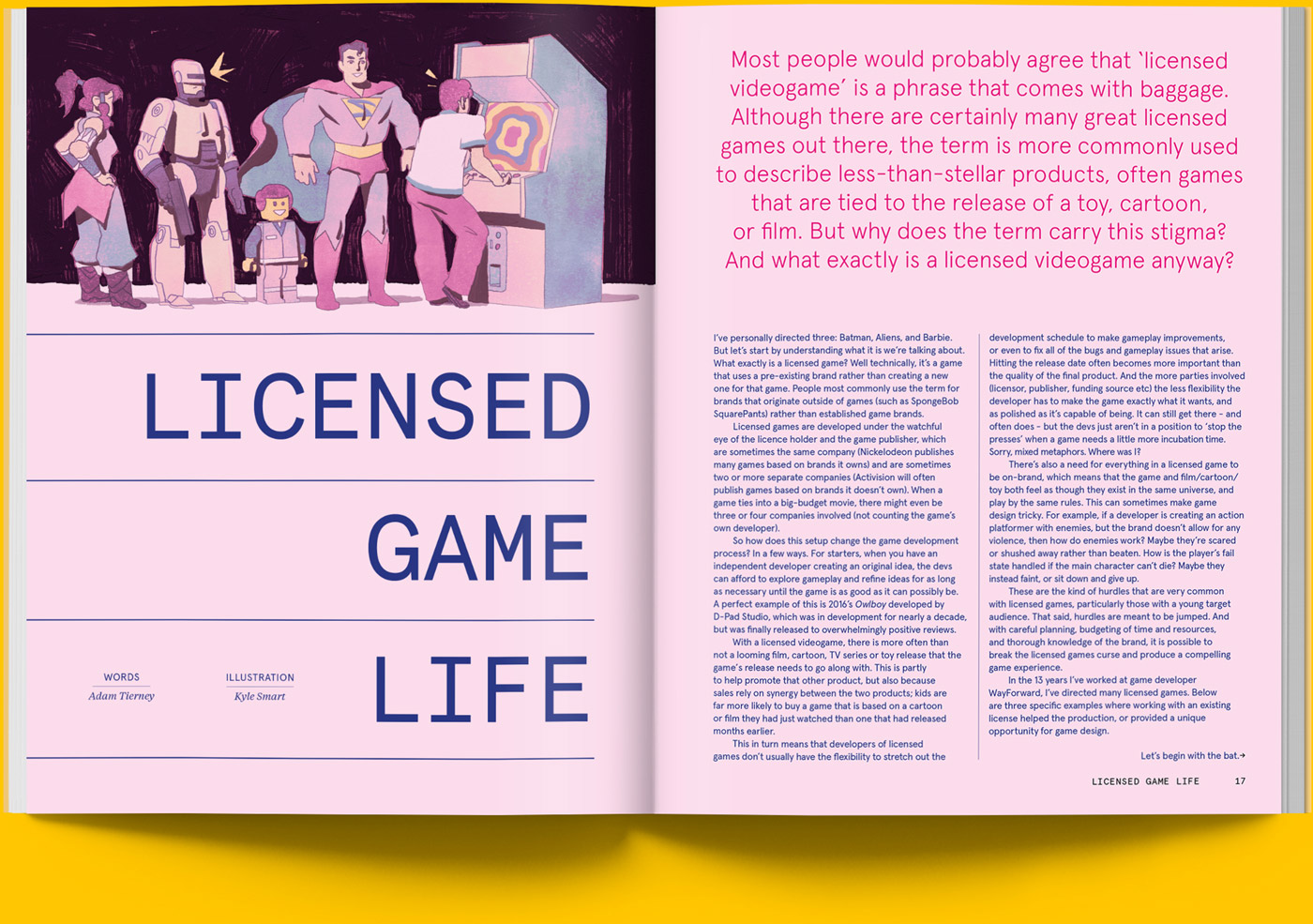 Magazine spread of article on licensing in video games