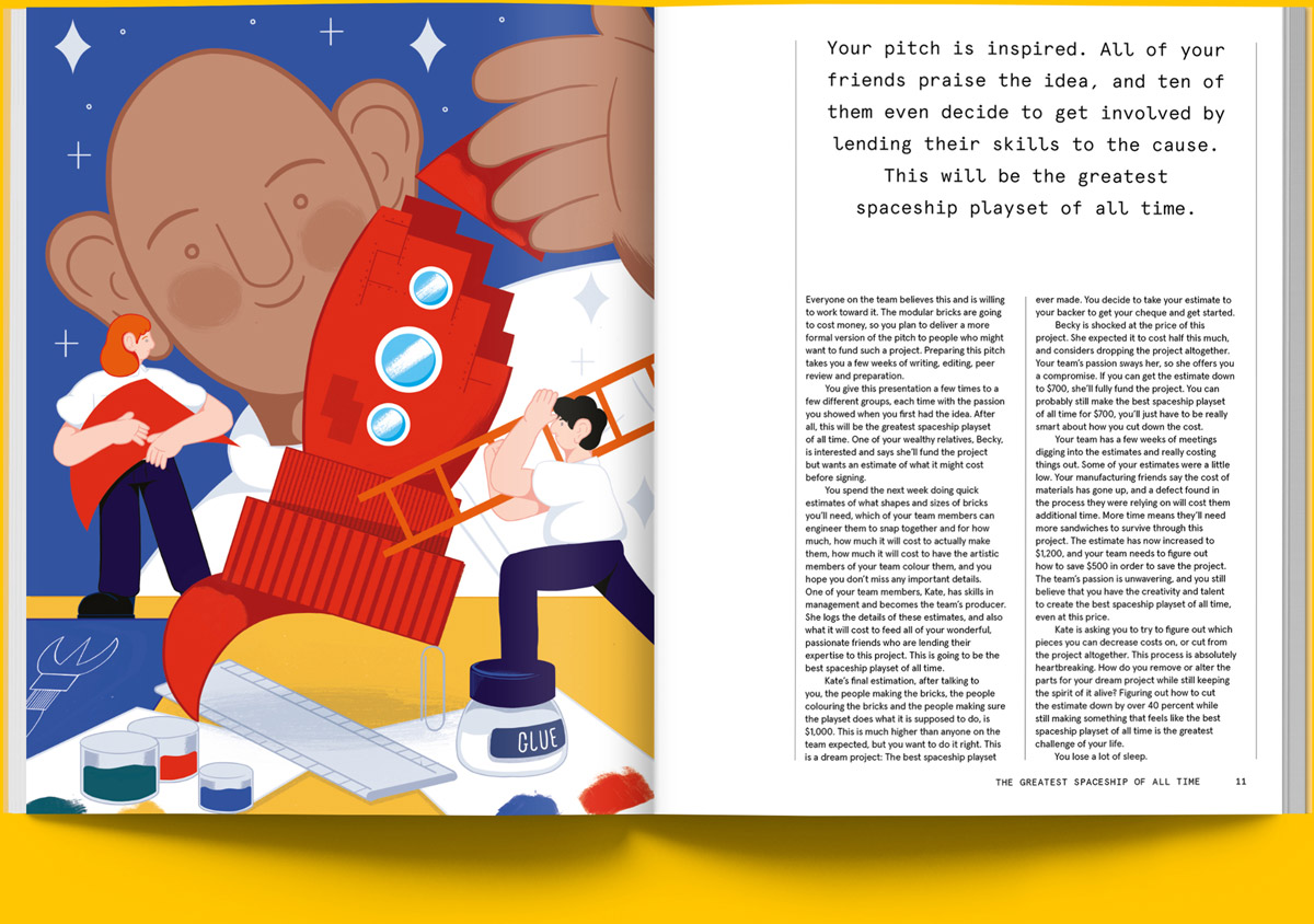 Magazine spread of article on comparing game development to building a model spaceship