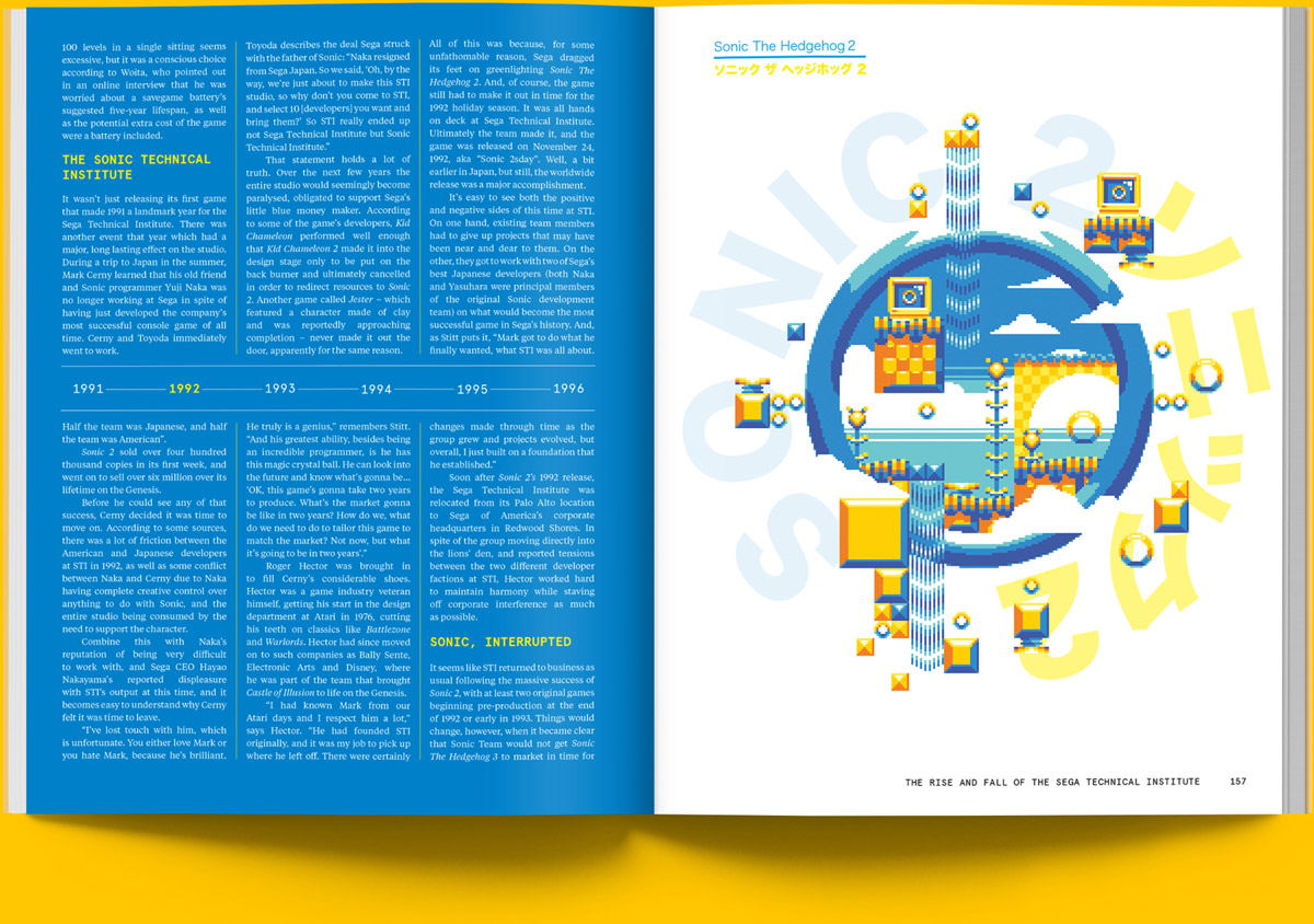 Magazine spread of article on the history of the Sega Technical Institute