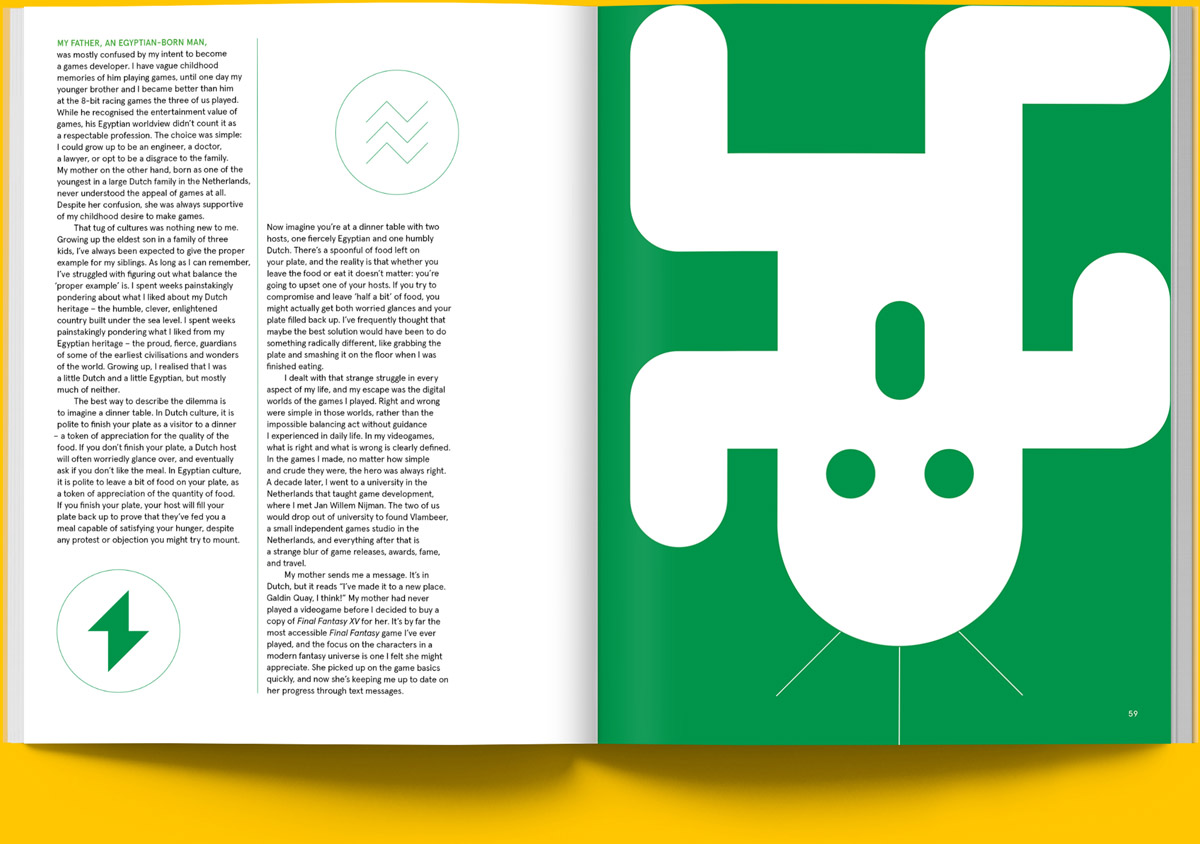 Magazine spread of article exploring the concept of games as a language and culture