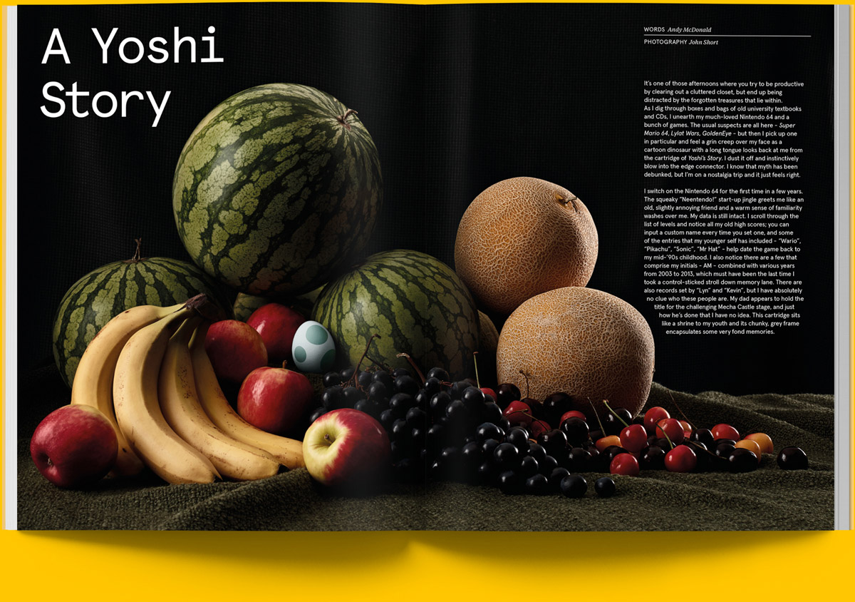 Magazine spread of article on the Yoshi series with still life photography